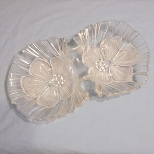 Mikasa Glass Serving Dish 2 Flower Shaped Sections